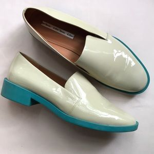 & Other Stories unique beige and turquoise loafers